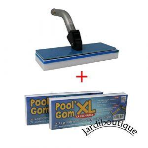 Toucan Productions Jardiboutique Brosse avec Tête de Balai Piscine -Pool gom XL Multi-Surfaces + 2 éponges