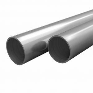 VidaXL Tube rond Acier inoxydable 2 pcs V2A 2 m Ø12x1,45 mm