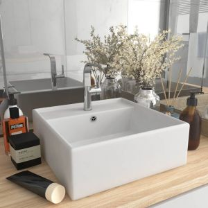 VidaXL Lavabo carré de luxe à trop-plein Blanc mat 41x41 cm Céramique