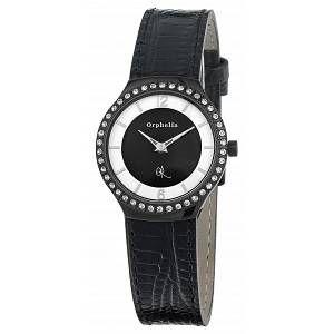 Orphelia Montre Femme - Quartz Analogique - Cadran Multicolore - Bracelet Cuir Noir
