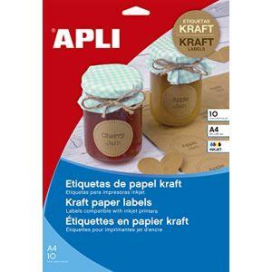 APLI 17378 - 180 étiquettes kraft ovales, format 63,5 x 42,3 mm (10 feuilles / cdt)