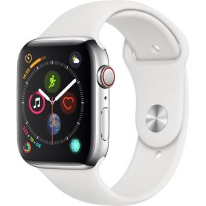 Apple Watch Series 4 + Cellular - 44mm - Acier / Blanc