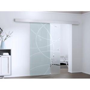 Porte coulissante en applique IDI H205 x L93 cm Verre trempé