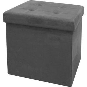 The home deco factory Pouf coffre de rangement pliable - 37,5x37,5x37,5 cm - suédine Gris Foncé