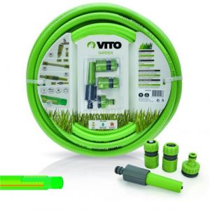 Vito Garden Kit d'arrosage PVC renforcé 20 m diam 15mm 4 accessoires