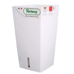 Riviera Pot plastique à réserve d'eau L.37 x l.37 x H.68.5 cm blanc
