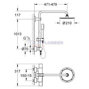 Grohe Rainshower® System 210 Colonne de douche avec mitigeur thermostatique (27032001) -