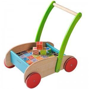 EverEarth Jouet Chariot de marche avec Cubes Abécédaire (EN) - Jouets bois
