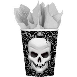 8 gobelets en carton Tête de Mort Halloween