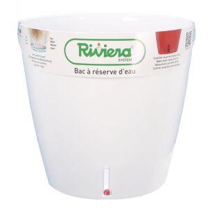 Riviera & bar Pot plastique à réserve d'eau RIVIERA Diam.30 x H.27.5 cm blanc