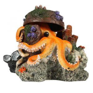 Ebi Décor Pieuvre perdue - 15,5x12,5x11 cm - Pour aquarium