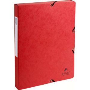 Exacompta 50305E - Boîte à élastique EXABOX, carte lustrée, dos de 25, coloris rouge
