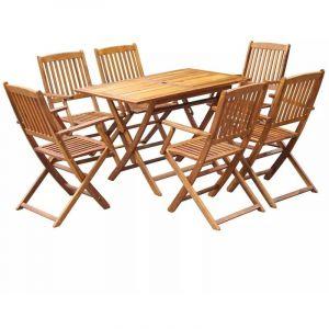 VidaXL Jeu de salle à manger d'extérieur pliable 7 pcs bois d'acacia