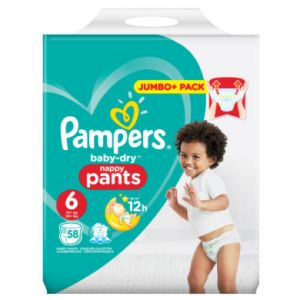 Pampers Couches Baby Dry pants T. 6 (15 kg) Jumbo Plus 58 pièces