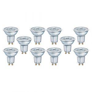 Osram LED STAR PAR16 / Spot LED, Culot GU10, 2,6W Equivalent 35W, 220-240V, Angle : 36°, Blanc Froid 4000K, Lot de 10 pièces