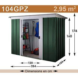 Yardmaster 104PZ - Abri de jardin en métal 2,95 m2