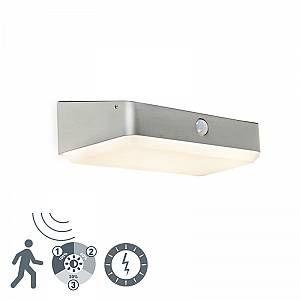Qazqa Lampe d extérieur Blox LED à énergie solaire avec PIR IP44