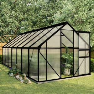 VidaXL Serre avec cadre de base Anthracite Aluminium 8,17 m²