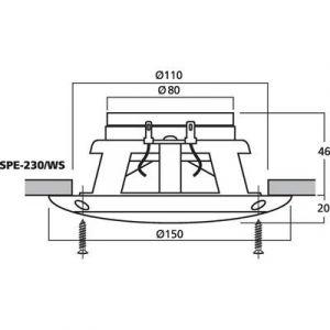 Monacor SPE-230/WS - Haut-parleur encastrable 50 W