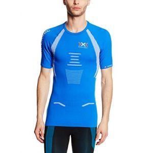 X-Bionic The Trick T-Shirt de Running Fonctionnel pour Homme Small Multicolore Royal Blue/White