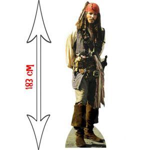 Figurine géante en carton Jack Sparrow Pirates des Caraïbes (183 cm)