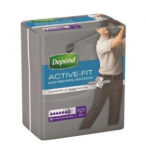 Depend Paquet de 8 sous-vêtements Active-Fit - Homme - Taille L/XL