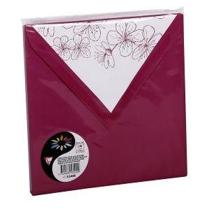 Pollen 53400C - Enveloppe 165x165, 120 g/m², coloris framboise, doublure Framboisiers, en paquet cellophané de 10
