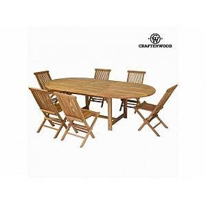 Craftenwood Ensemble de 1 Table avec Rallonge et 6 Chaises en Bois de Teck