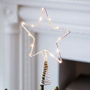 Cimier de sapin de Noël étoile lumineuse avec micro LED blanc chaud à piles