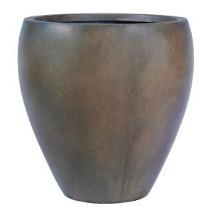 Pot rond bombé lisse 40 x 40 x 41 cm Marron glace