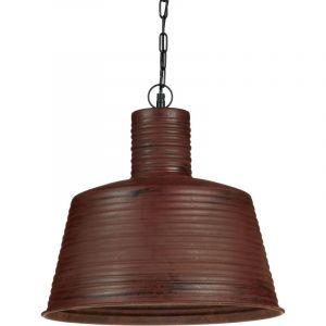 Relaxdays Lampe à suspensions luminaire H x D: 151 x 40 cm abat-jour couleur rouille vintage industriel retrochaîne en métal, marron