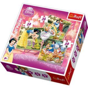 Trefl Blanche Neige et les 7 Nains - Lot 3 puzzles  20, 36 et 50 pièces