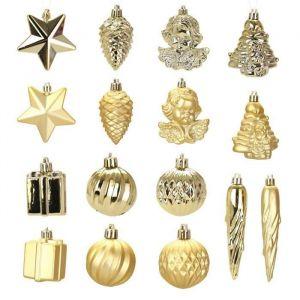 Kit de 16 décorations Noël or