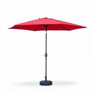 Alice's Garden Parasol droit Touquet rond Ø300cm Rouge, mât central aluminium orientable et manivelle d'ouverture