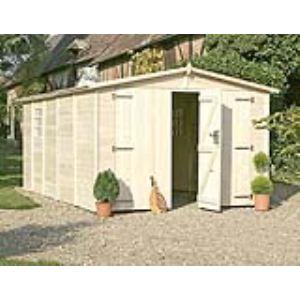 Chalet et Jardin Albatros - Garage en bois de sapin 17 mm avec double porte 14,53 m2