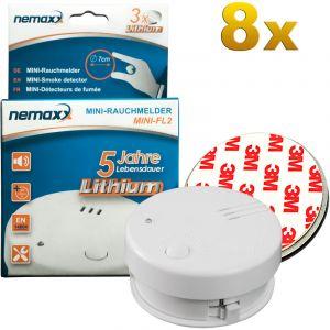 Nemaxx 8x détecteur de fumée Mini-FL2 - mini-détecteur discret et de haute qualité Alarme de fumée avec batterie au lithium - selon la norme DIN EN 14604 + 8x kit magnétique