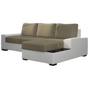 Comforium Canapé d'angle convertible 3 places en tissu beige et cuir synthétique blanc avec coffre méridienne côté droit