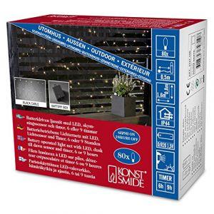 Konstsmide Filet lumineux avec minuterie pour lextérieur fonctionnement à piles 80 LED blanc chaud