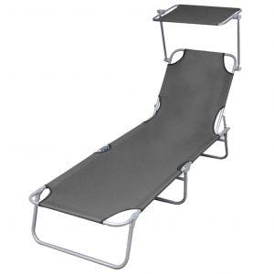 VidaXL Chaise longue pliable avec auvent Gris