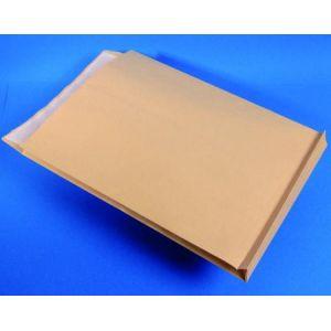 Clairefontaine 10450C - Paquet de 50 pochettes à soufflet Adhéclair kraft, avec fenêtre 50x105 à 60/20, adhésive avec bande, 120 g/m², 229x324x30