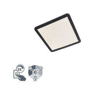 Qazqa Design /Industriel /Moderne Modern Square Ceiling Lamp 40cm Black IP44 incl. LED - Steve Plastique Noir Carré / Extérieur / Jardin / Luminaire / Lumiere / Éclairage / intérieur / Salon / Cuisine