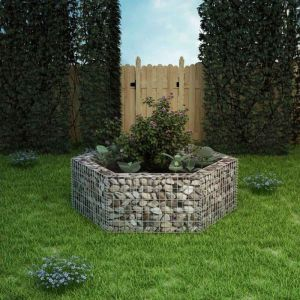 VidaXL Jardinière à gabion hexagonale 160 x 139 50 cm