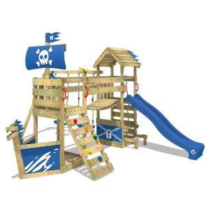 Wickey Aire de jeux Portique bois GhostFlyer avec balançoire et toboggan bleu Cabane enfant exterieur avec bac à sable