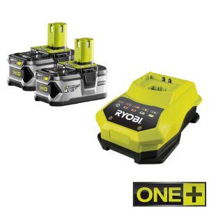 Ryobi RBC18LL40 - 2 Batteries Lithium-Ion 18V 4 Ah avec chargeur pour one+