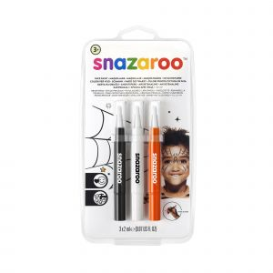 Snazaroo 3 Stylos pinceaux maquillage halloween noir, blanc et orange