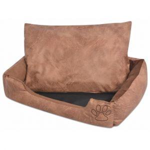 0fcae09de967 VidaXL Lit pour chiens avec coussin Cuir artificiel PU Taille S Beige