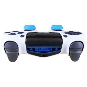 Subsonic Pack d'accessoires de customisation pour manette PS4 avec coque / housse souple en silicone anti-transpirante, thumb grips caps pour joystick et sticker pour light bar - OM Olympique de Marseille n°13