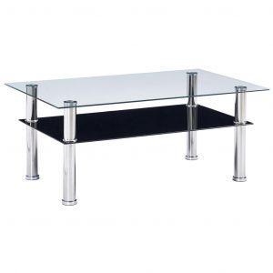 VidaXL Table basse Noir 100x60x42 cm Verre trempé