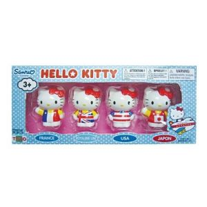 Toho 4 figurines Hello Kitty drapeaux de pays