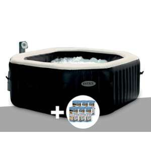 Intex Kit spa gonflable PureSpa octogonal Bulles + Jets 6 pl + 12 cartouches